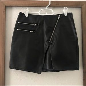 Black Faux Leather Skirt with Zippers